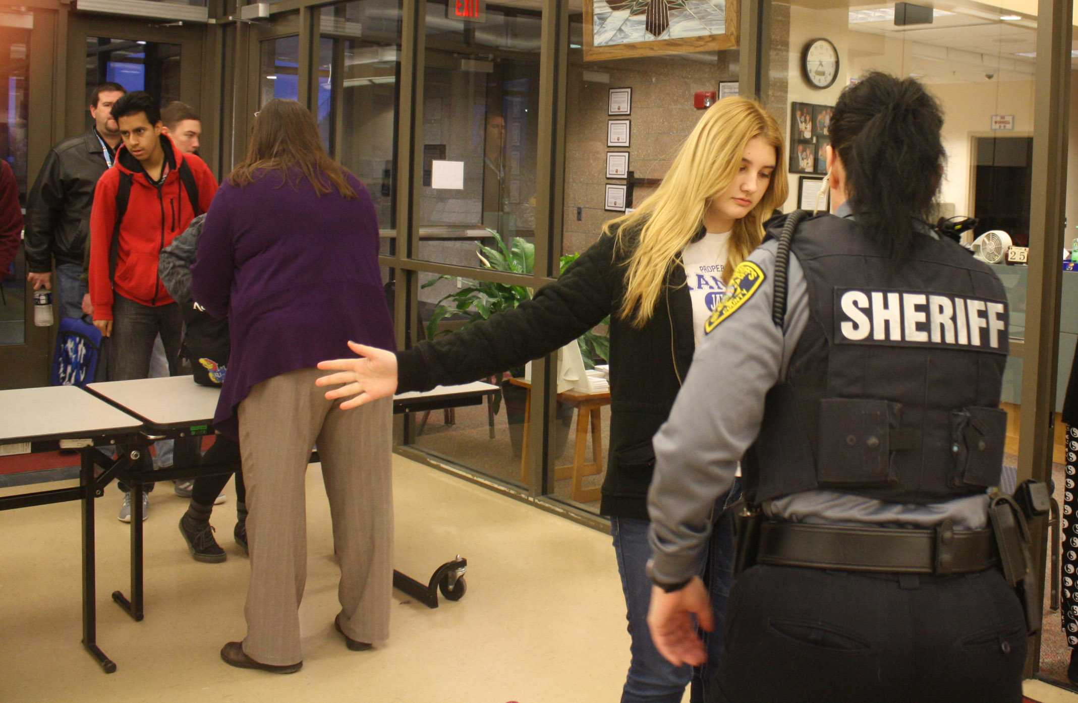 Security welcomed students as they returned to school on Tuesday 26, after being assured the students and faculty were safe, school continued as normal.